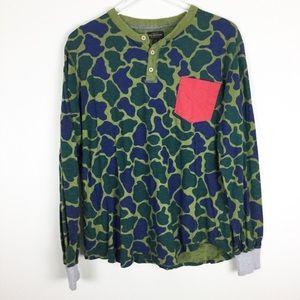 UO CPO Provisions camo long sleeve Henley shirt